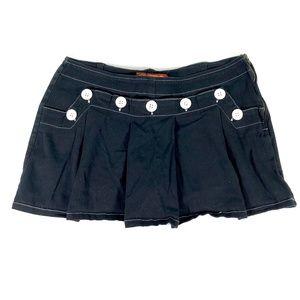Goth Punk Rock Black Mini Skirt Short Skort Pleat